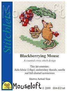 Mouseloft Blackberrying Mouse Stitchlets cross stitch kit